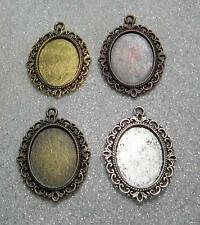 4 oval setting tray pendant frames for 18 x 25 mm cabochons pictures sample set