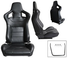 NEW 2 BLACK PVC LEATHER RACING SEATS RECLINABLE W/ SLIDERS ALL CHEVROLET **