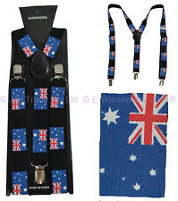 Punk Disco Dance Costume Pants Suspenders Braces Australian Australia Day Flag