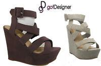 NEW Women Fashion Strap Wedges Platforms Sandal Dress Shoes Open Toe Multi-Color