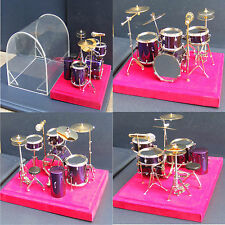 1:12 Scale Purple Drum Kit & Case Tumdee Dolls House Music Instrument Accessory