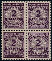 DR 1923, 315 A W b, Viererblock, tadellos postfrisch, gepr. Weinbuch, Mi. 400,-