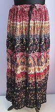 VTG Ladies SAG HARBOUR Black/Red Multi Indian/Hippy Midi Skirt Size Large (Z12)