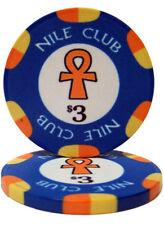 25 Blue $3 Nile Club 10g Ceramic Poker Chips New - Buy 3, Get 1 Free