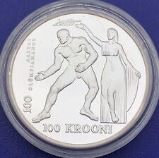 Monnaie Argent, 100 Krooni 1996, Estonie, Centenaire JO modernes, #B4