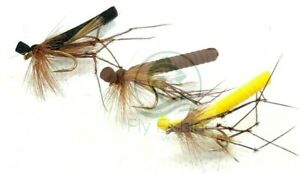 3 FOAM DADDY Long Legs Dry Flies DADDIES Dries Trout Fly Fishing Size 10,12