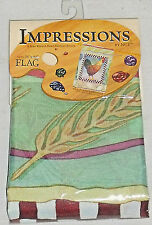"""Garden Art Flag CHECKERBOARD ROOSTER By Impressions 28"""" X 40"""" NEW Sealed"""