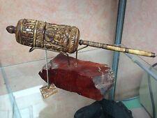 rare moulin à prières tibet ?os ? 24 cm état superbe