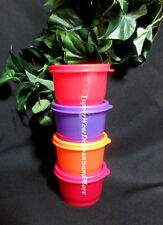 Tupperware NEW Dazzle Sparkling Purple & Red Orange SNACK  CUPS Set 4 Bowl Seals
