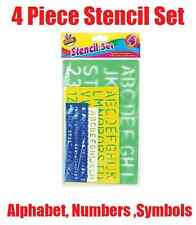 4 x Letter Stencil Set A-Z 0-9 Alphabet Numbers Letters Craft Large Lettering
