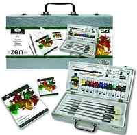 27 Pezzi Zen Olio Dipinto Artista Scatola di Legno Set Spazzole Pastiglie Colori