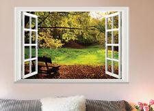 DIY Large 3D Garden Bench View Window Wall Sticker Vinyl Art Mural Bedroom Decor