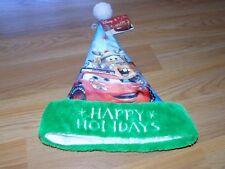 """Disney Cars Christmas Holiday 16"""" Santa Hat Lightening McQueen Mater Blue Green"""