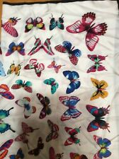 """NWT  Echo silk scarf   40 """" Square  white back bright color  butterflies #384"""