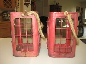 Set of 2- Farmhouse Country Rustic Red Hanging Lantern Candle Pillar Holder