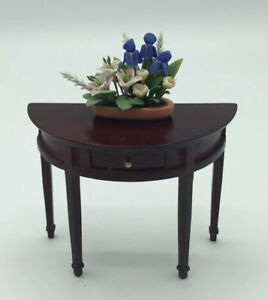 Dolls House Half Round Table With Flower Display