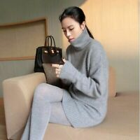 Turtleneck Cashmere Sweater Women Loose Knitted Pullover Plus Size Long Sleeve