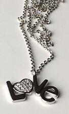 Cubic Zirconia Love Heart Pendant In Fine Silver Plate