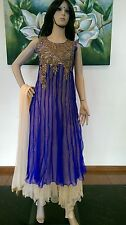 "38"" S Salwar Kameez Bollywood Indian Ladies Party Wear EID Diwali Blue Beige"