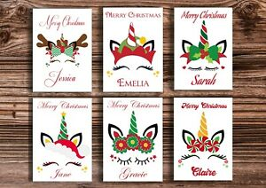 Christmas Unicorn Cards High Gloss Personalised A6 Packs of 10 or Singles