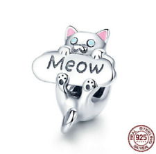 Authentic 925 Sterling Silver Naughty Cat Beads Meow Cat Animal Charm Bracelet