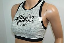 Victoria's Secret Pink Crop Cotton Racerback Bra NWT Marled Gray Medium Unlined