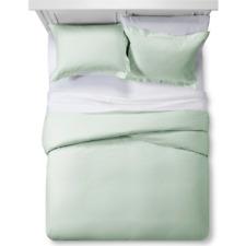 Gray Mint Damask Stripe Duvet Cover Set (King) - Fieldcrest est.1893 100% Cotton