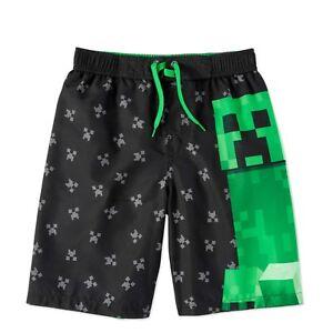 Minecraft Boys' Graphic Swim Trunk Board Shorts UPF 50+