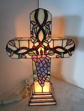 "Tiffany Style 18"" Stained Glass Cross Accent Lamp Art Deco Design Vintage"
