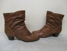 SIXTY SEVEN Brown Leather Slouch Ankle Boots Womens Size 40 EUR