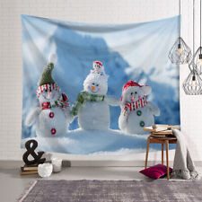 Christmas 3-snowman Tapestry Home Wall Hanging Decor Blanket Bedspread 95cm MA