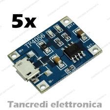 5X Modulo caricabatteria lipo TP4056 5V 1A micro USB li-ion litio lithium