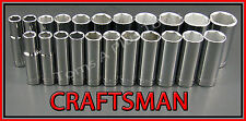 Craftsman Hand Tools 22pc 3/8 Deep Sae Metric Mm 6pt ratchet wrench socket set