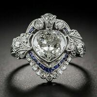 3 Ct Heart Cut Diamond Art Deco Women Valentine Gift Ring 14K White Gold Finish