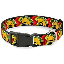 """Buckle Down Plastic Clip Collar - Taco Man - 1"""" Wide - Fits 11-17"""" Neck - Med..."""