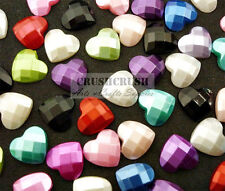 "25pcs 1/2"" (13mm) Assorted Color Faceted Pearl Heart Cabochons Flat back F1354"