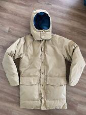 Woolrich Vintage Mens Mountain Parka Winter Coat Down Jacket Hooded USA Beige S