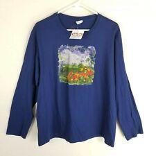Crazy shirt long sleeve crew neck unisex xl purple mountain floral scene nwt