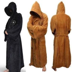 Men Star War Bath Robe Jedi Sith hooded Bathrobe Cloak Soft fleece Dress Gown YN