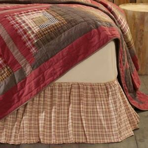 Gathered Bed Skirt Tan Red Green Plaid Country Bedroom Dust Ruffle Tacoma