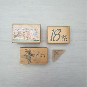 VTG Craft Wood Rubber Block Stamps Stamp-It*Nan Newberry*Lucy's*PSX Birthday