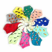 5 Pairs Womens Socks Lot Crew Ankle Low Cut Fruits&Vegetables Casual Dress Socks