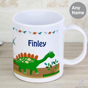 Personalised Childrens Cup, Dinosaur. Childs Name. Plastic Mug. Kids Mug. White