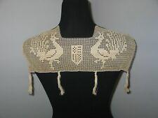 Antique Lace Collar / Crochet Lace /Dress Front / Vintage Birds / Handmade Lace