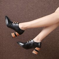 New Women Vintage Oxford Pumps High Block Heel Zipper Lace up Pointed Toe Shoes