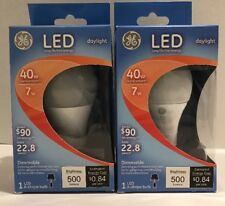2 Pkgs.  GE 40W Watt Equivalent (Uses 7W Watt) Daylight A19  LED Bulb 22.8 Years