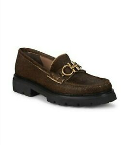 Salvatore Ferragamo NEW Gancini Brown Bleecker Calf-hair Lug Loafers Size 6.5 EE
