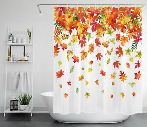 Autumn Falling Maple Leaves Waterproof Fabric Shower Curtain For Bathroom Decor