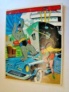 1966 Batman Robin & Batmobile Frame Tray Cardboard Puzzle by Whitman