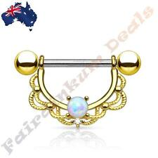 16G 316L Surgical Steel Gold Plated Nipple Ring Shield with Opal Filigree Drop